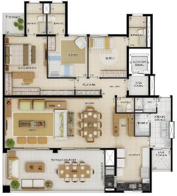 Guaruja Loteamento Joao Batista Juliao Apartamento Venda R$950.000,00 Condominio R$1.000,00 3 Dormitorios 2 Vagas Area construida 158.00m2